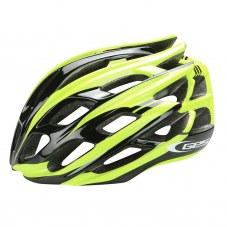 Casque GES Ultralite Double in mold Route S/M 52/58 Adulte H/F Jaune/noir Fermeture 3 positions 210 g