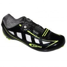 Chaussure GES Speed Compatible LOOK/SHIMANO/time Route 41 Adulte H/F Noir/jaune fluo brillant Serrage boa