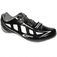 Chaussure GES Speed Compatible LOOK/SHIMANO/time Route 44 Adulte H/F Noir/blanc brillant Serrage boa