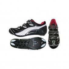 "Chaussure route  noir t46 fixation 3 ""scratch"" compatible LOOK-SHIMANO-time"