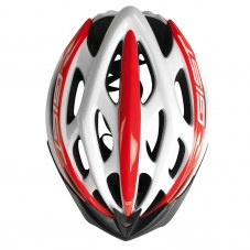 Casque vélo adulte GIST route-VTT faster blanc-rouge in-mold taille 56-62 réglage molette 240 g