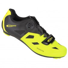 """Chaussure GES Roadster Compatible LOOK/SHIMANO/time Route 42 Jaune fluo/noir Serrage boa/""""scratch"""""""