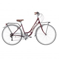 "Vélo city bike CINZIA Beauty City 28"" 45 Femme 6 vitesses Acier Rouge burgundy"